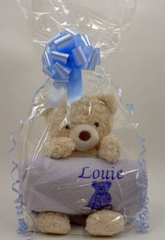 Personalised Baby Blanket and Teddy Gift Set